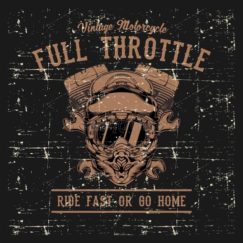 Vetor do desenho da mão do capacete, da chave e da máquina do ciclo de motor do estilo do Grunge ilustração royalty free