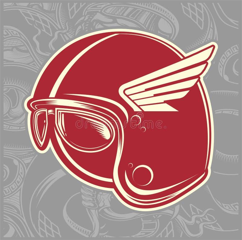 Vetor do desenho da mão do piloto do café do capacete ilustração do vetor