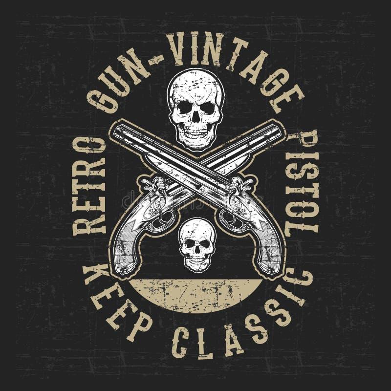 Vetor do desenho da mão da pistola e do crânio do vintage do estilo do Grunge ilustração do vetor