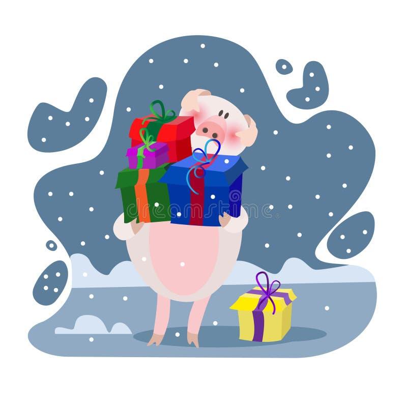 Vetor do desenho do porco ilustração royalty free