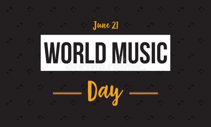 Vetor do dia da música do mundo do estilo da bandeira liso ilustração royalty free
