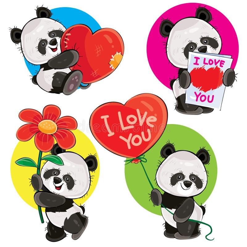 Vetor do dia de são valentim ajustado com os ursos de panda bonitos ilustração do vetor