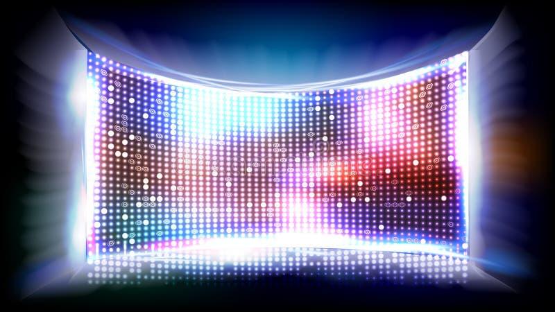Vetor do diodo emissor de luz da tela Monitor brilhante Tela do disco do clube Ilustração ilustração do vetor