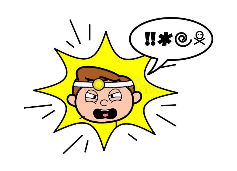 Vetor do doutor Screaming Face Expression dos desenhos animados ilustração royalty free