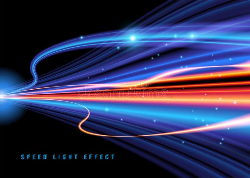 Vetor do efeito da luz da velocidade ilustração stock