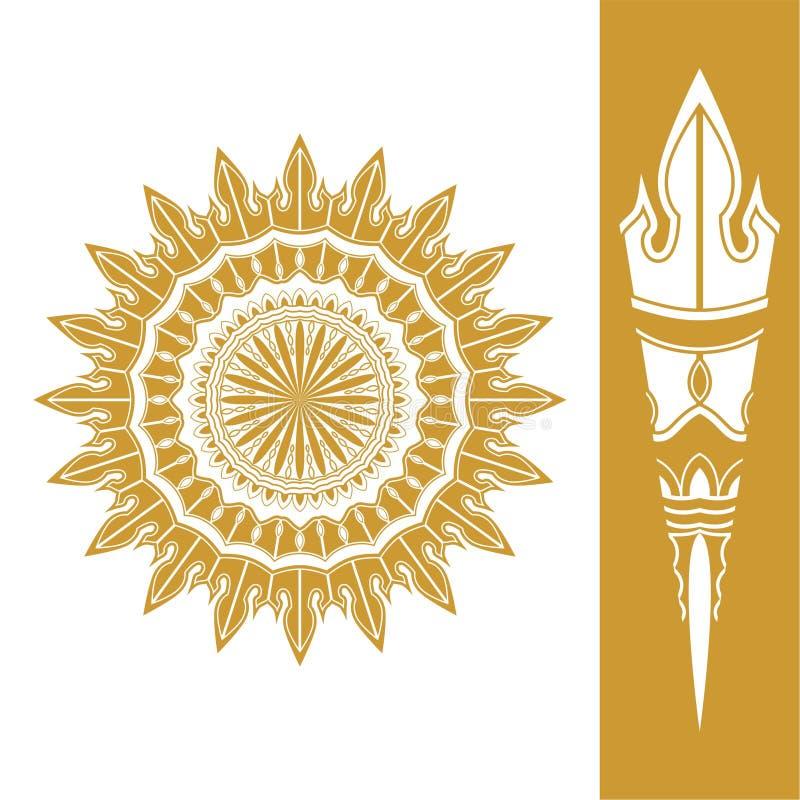 Vetor do elemento da tocha em 18 graus de ouro ilustração do vetor