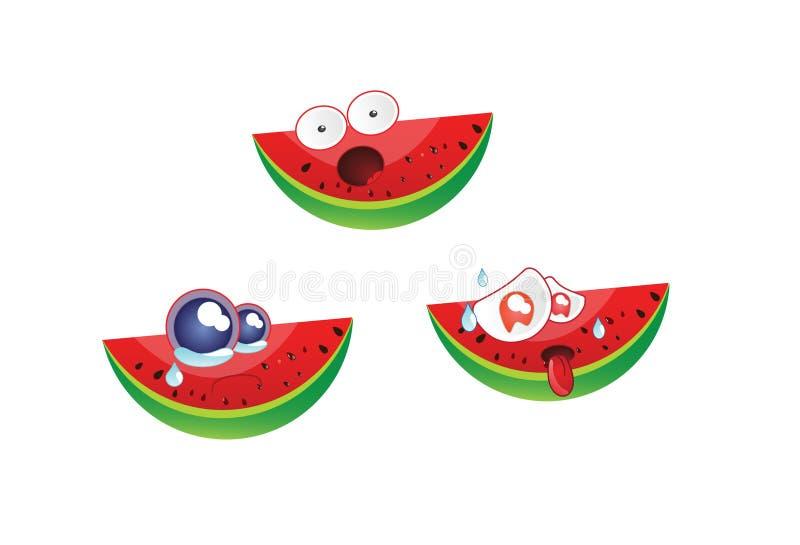 Vetor 1 do emoticon da melancia fotos de stock