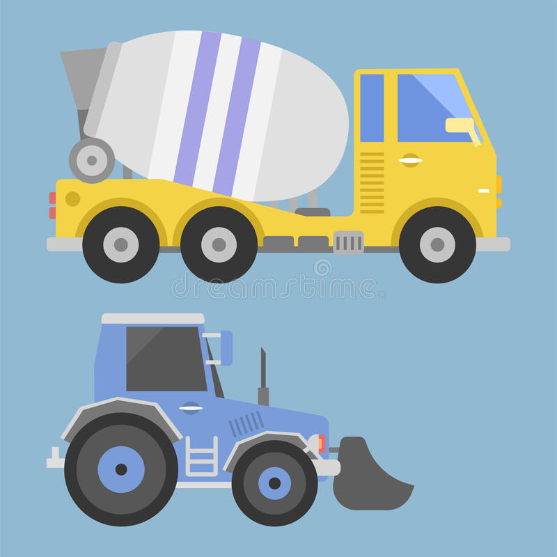 Vetor do equipamento da máquina da estrada do motor do veículo do transporte do caminhão de entrega da construção ilustração royalty free