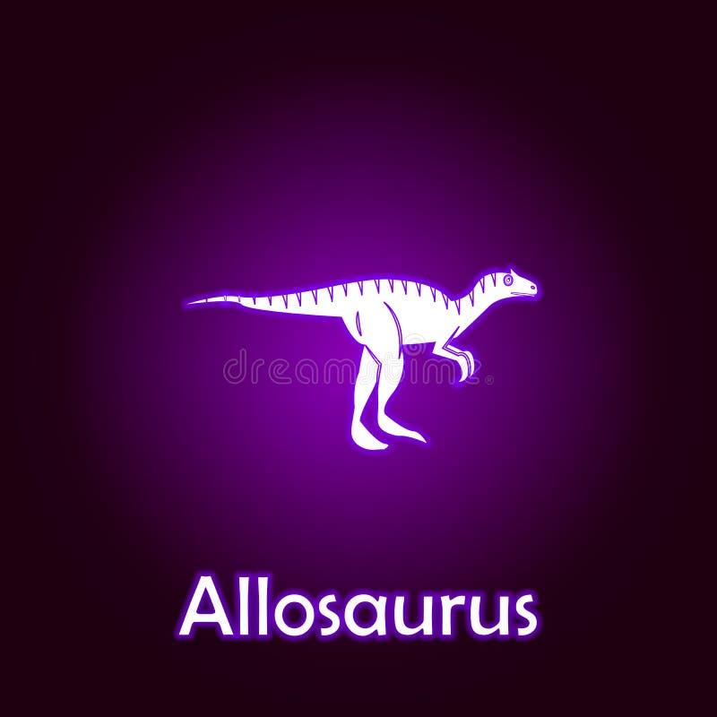 vetor do esbo?o do allosaurus Elementos da ilustra??o dos dinossauros no ?cone de n?on do estilo Os sinais e os s?mbolos podem se ilustração do vetor