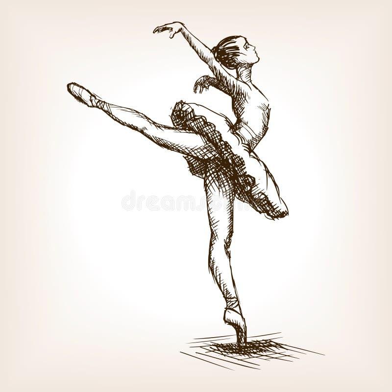 Vetor do esboço da menina do dançarino de bailado ilustração stock