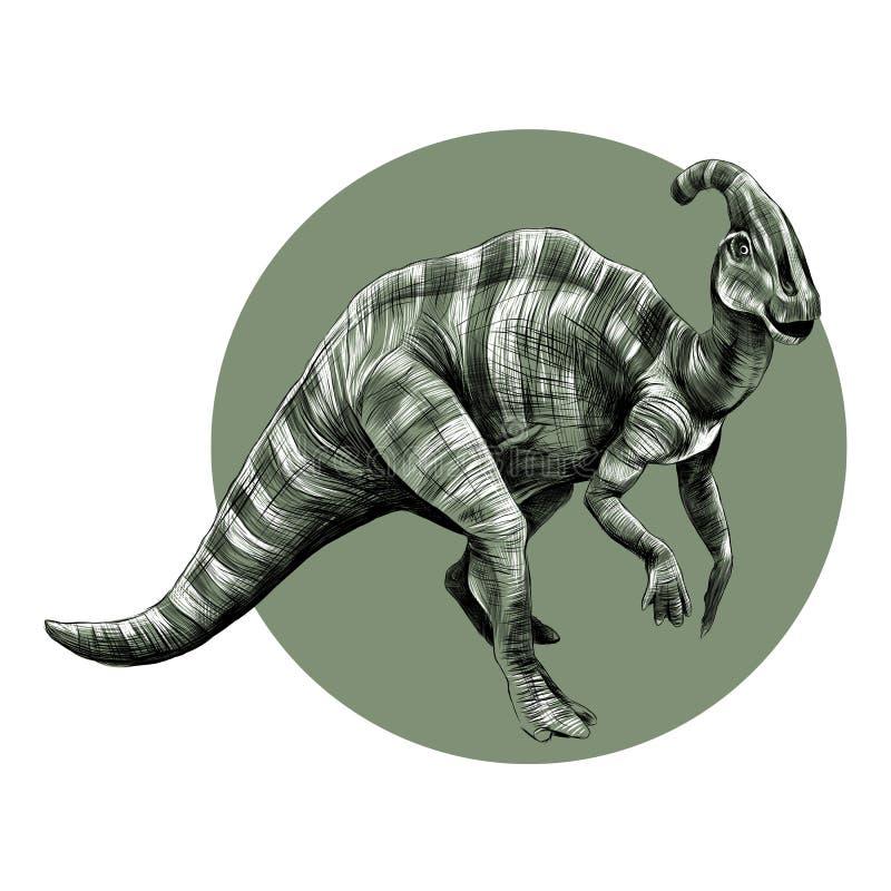 Vetor do esboço do dinossauro no círculo ilustração do vetor