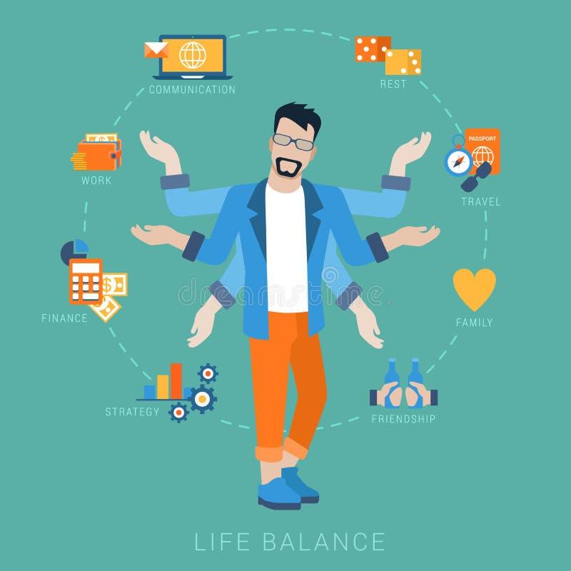 Vetor do estilo de vida do homem do equilíbrio da vida horizontalmente infografic: ícones ilustração stock