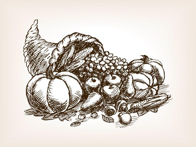 Vetor do estilo do esboço da colheita dos vegetais ilustração do vetor