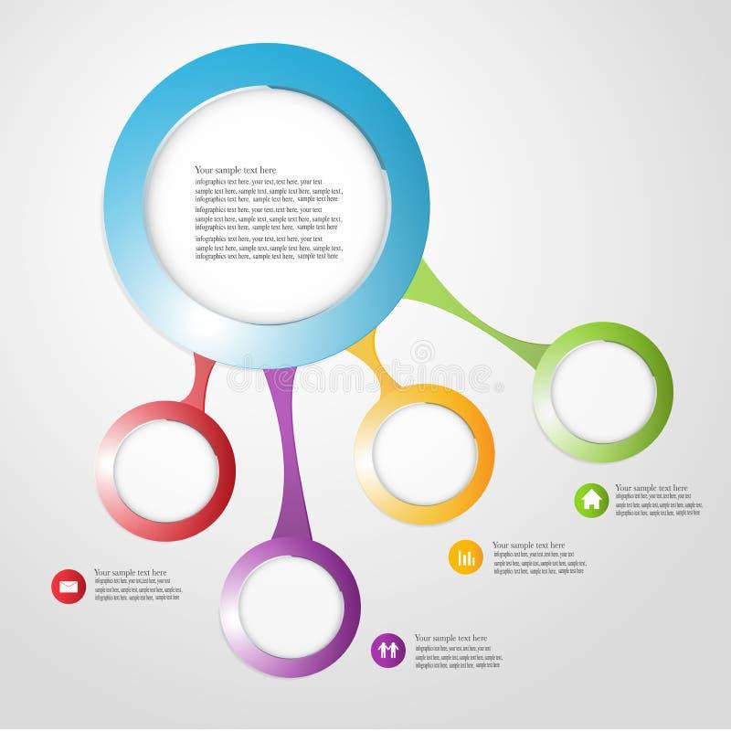 Vetor do estilo do origâmi do círculo de Infographics do negócio  ilustração stock