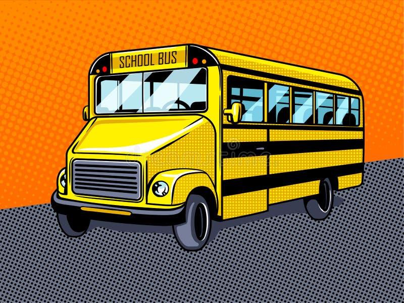 Vetor do estilo do pop art do ônibus escolar ilustração stock