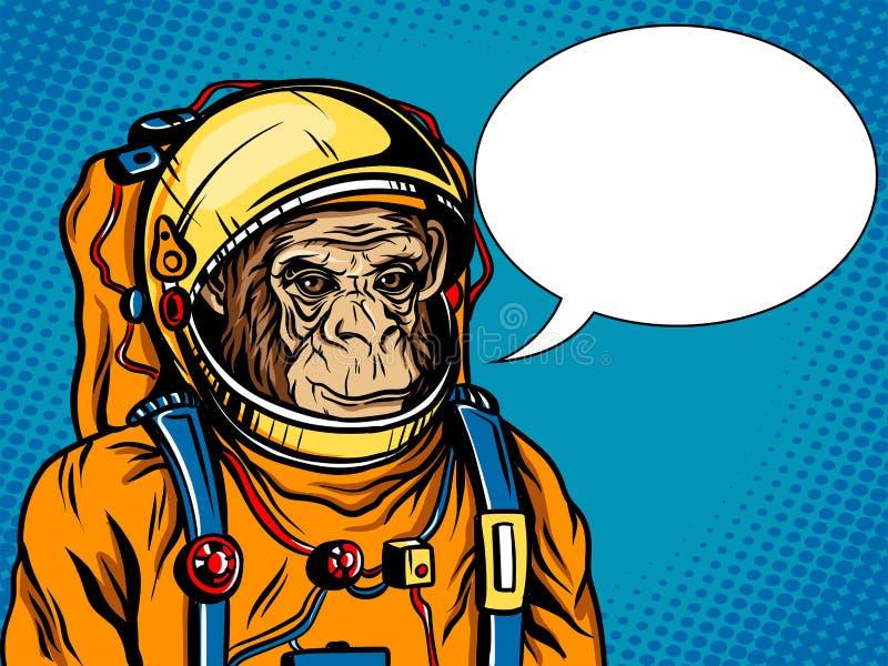 Vetor do estilo do pop art do terno de espaço do macaco do astronauta ilustração do vetor