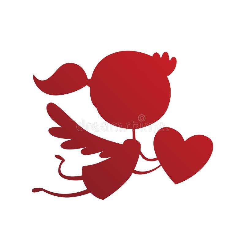 Vetor do estilo dos desenhos animados do anjo do cupido de Valentine Day ilustração stock