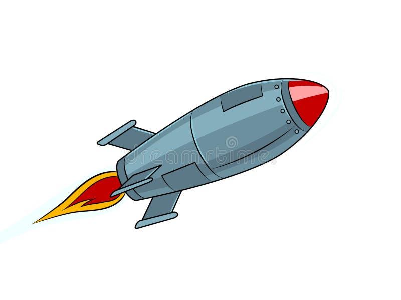 Vetor do estilo do pop art do voo do míssil de Rocket ilustração royalty free
