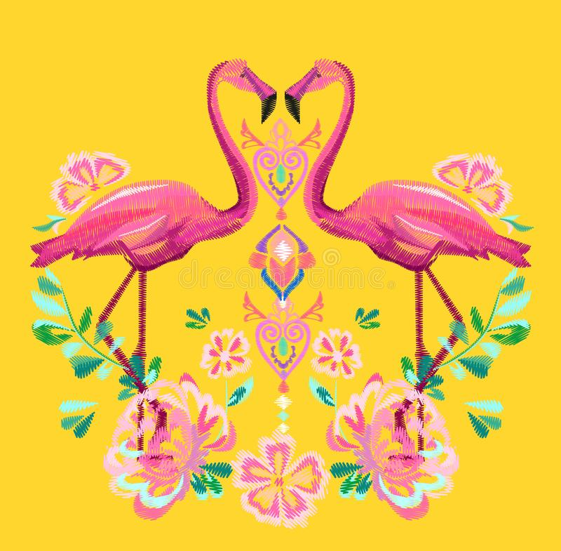 Download Vetor Do Flamingo Do Bordado Ilustração do Vetor - Ilustração de forma, decorativo: 107526826