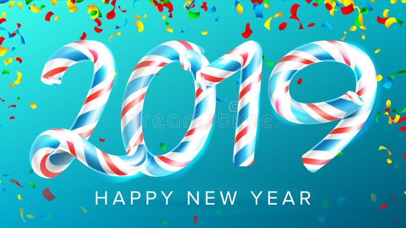 Vetor do fundo do ano 2019 novo feliz Números 2019 Cores do Natal azul Bastão de doces clássico do Xmas 3D Ano novo ilustração do vetor