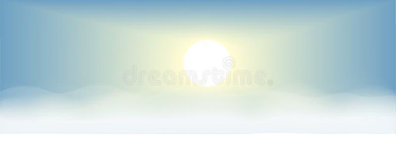 vetor do fundo do céu azul e do por do sol ilustração stock