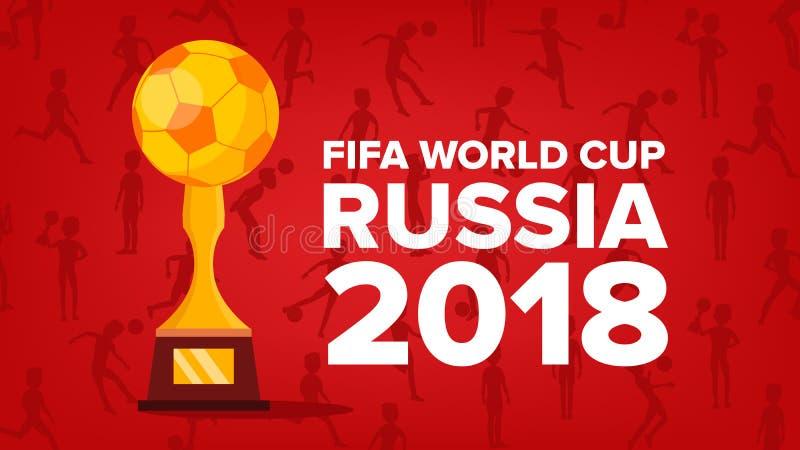 Vetor 2018 do fundo do campeonato do mundo de FIFA Gráfico do futebol Evento de Rússia Boa vinda a Rússia Ilustração ilustração stock