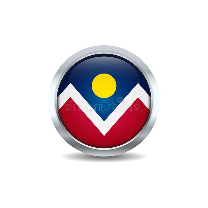 Vetor do fundo da bandeira do bot?o do c?rculo de Denver, Colorado ilustração royalty free