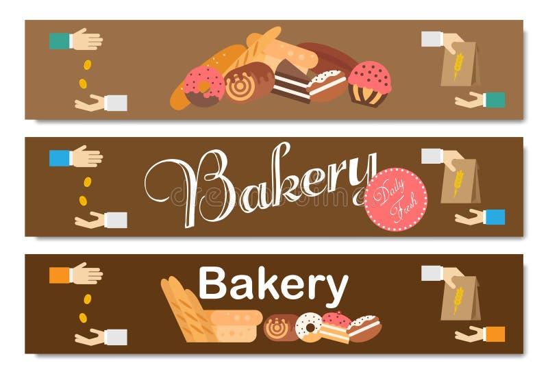 Vetor do fundo da padaria liso Grupo da bandeira do pão e das pastelarias ilustração stock