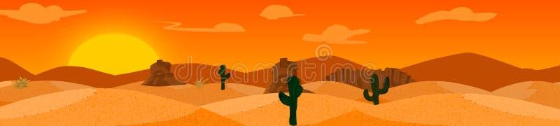 Vetor do fundo do deserto com montanhas e cactos ilustração royalty free