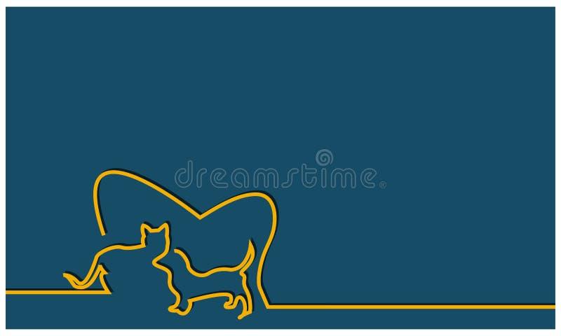 Vetor do fundo dos gatos e dos cães Ilustração do vetor no fundo azul ilustração royalty free