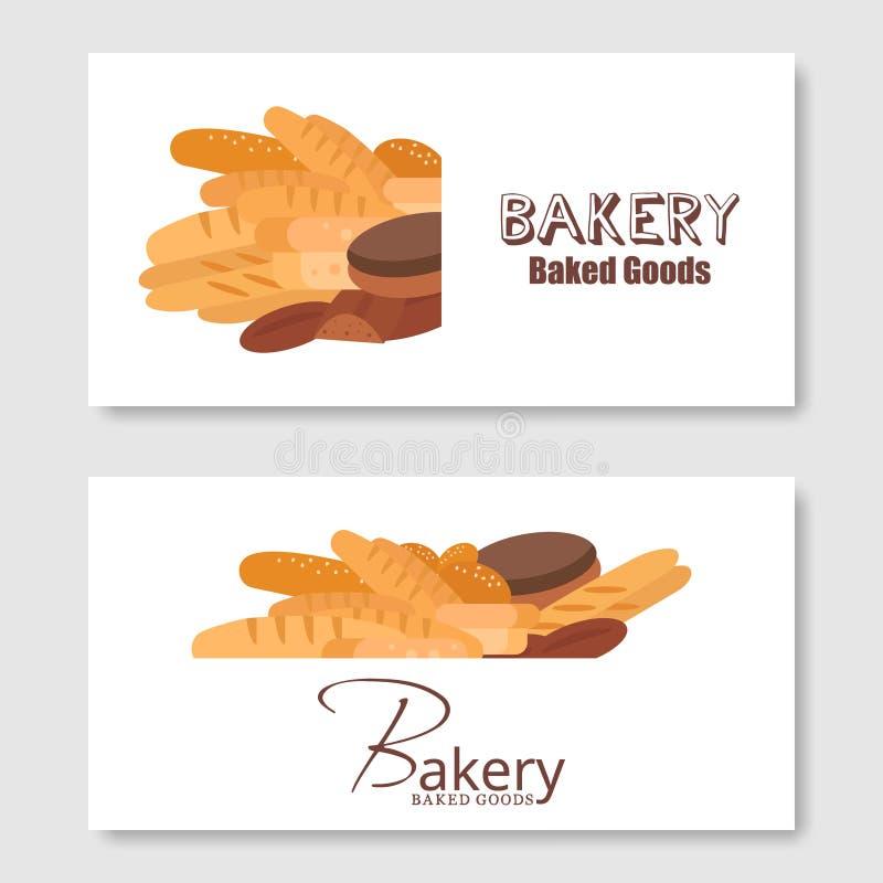 Vetor do fundo do inseto da padaria liso Grupo da bandeira do pão e das pastelarias ilustração royalty free