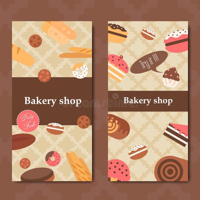 Vetor do fundo do inseto da padaria liso Grupo da bandeira do pão e das pastelarias ilustração stock
