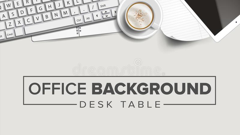Vetor do fundo do local de trabalho do negócio Portátil, computador, teclado, copo de café, Smartphone, caderno Criativo incorpor ilustração do vetor