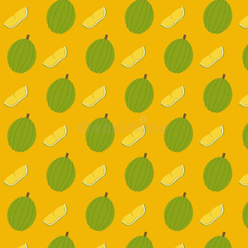 Vetor do fundo do teste padrão do Durian e da parte do corte ilustração stock