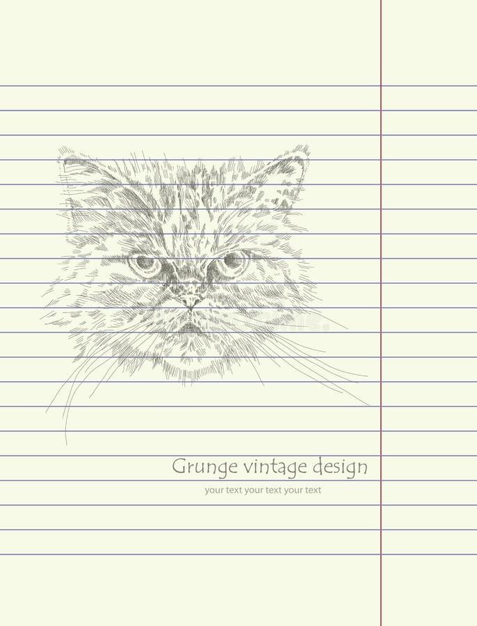 Vetor do gato do esboço do desenho da mão ilustração royalty free