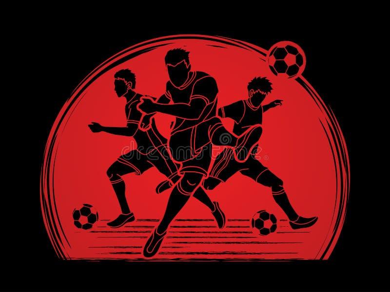 Vetor do gráfico da composição da equipe do jogador de futebol três ilustração do vetor