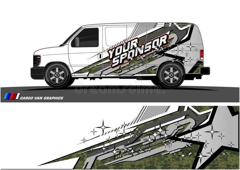 Vetor do gráfico da libré do carro projeto de competência abstrato da forma para o fundo do envoltório do vinil do veículo ilustração royalty free
