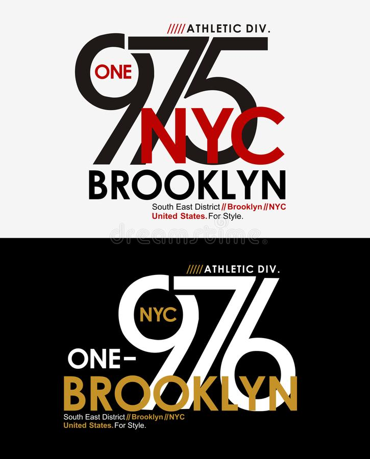 Vetor do gráfico do t-shirt do atletismo da tipografia NYC Brooklyn ilustração do vetor