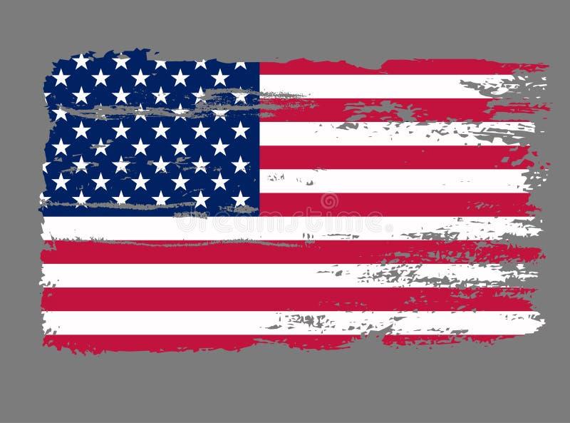 Vetor do Grunge dos EUA da bandeira ilustração stock