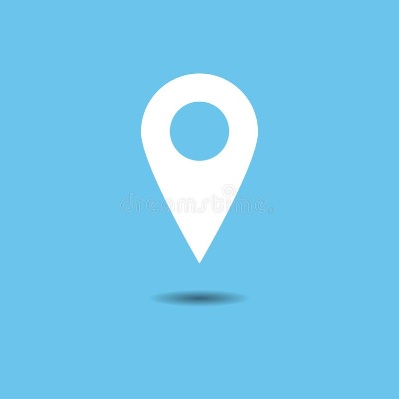 Vetor do grupo do ícone do ponteiro do mapa Símbolo de lugar de GPS Projeto liso ilustração royalty free