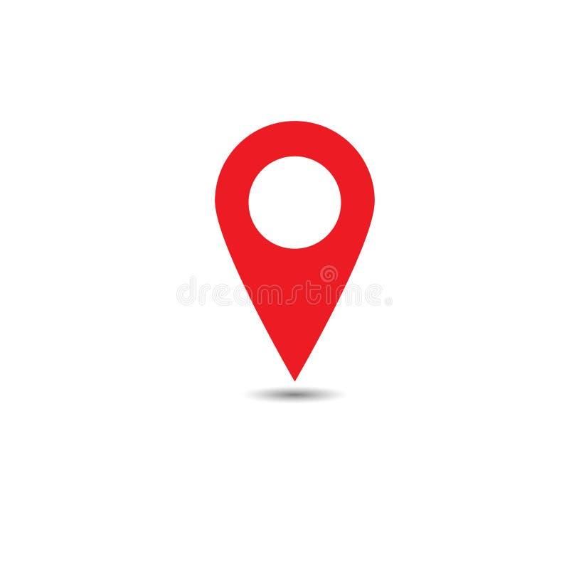 Vetor do grupo do ícone do ponteiro do mapa Símbolo de lugar de GPS Projeto liso ilustração stock