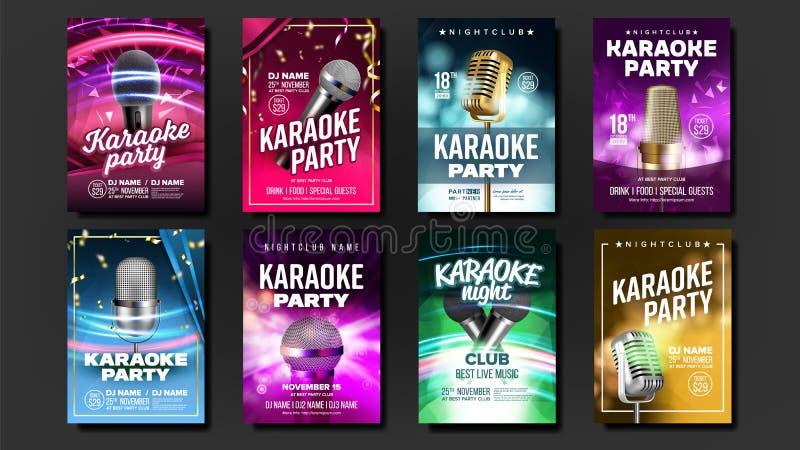 Vetor do grupo do cartaz do karaoke Mic Design Bandeira do disco Divertimento da rocha sinal vocal Anúncio dos meios Mostra da es ilustração do vetor