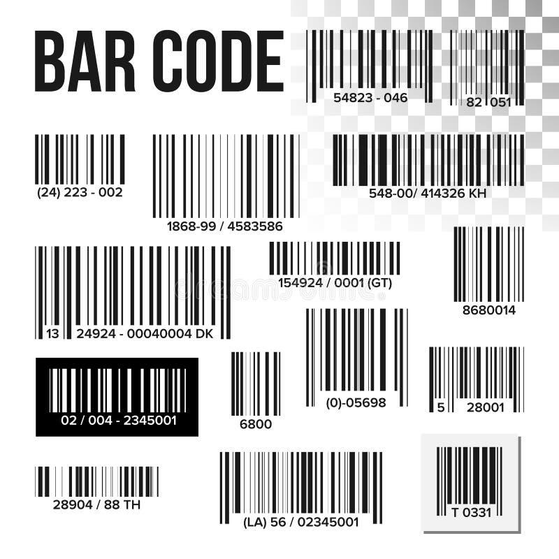 Vetor do grupo de código de barras Varredura do preço Etiqueta do produto Varredor do UPC da informação Leitor de Digitas Sinal d ilustração royalty free