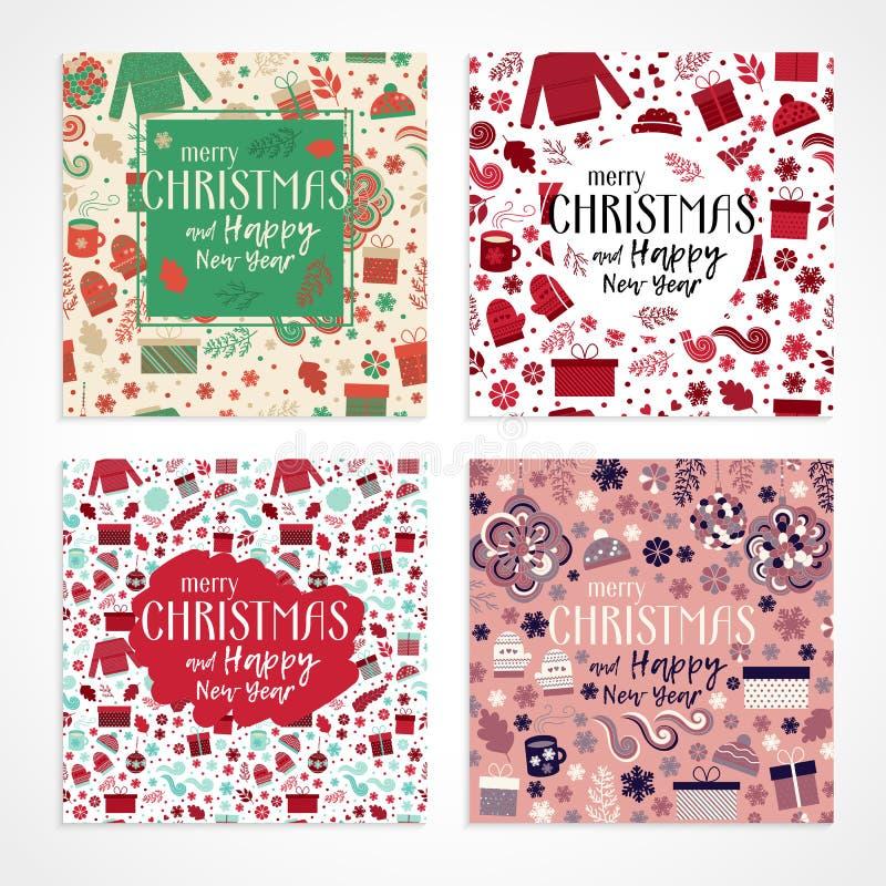 Vetor do grupo de cartão do Natal ilustração stock