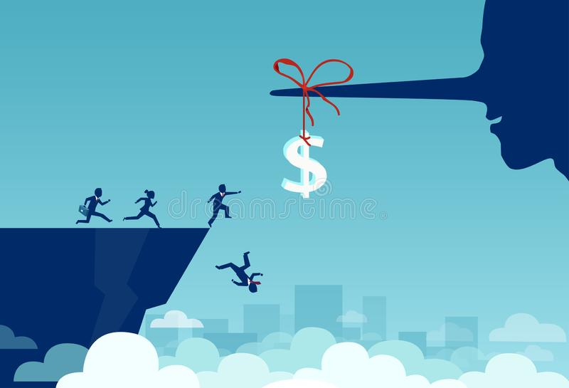 Vetor do grupo de executivos que correm para um sinal de dólar amarrado a um nariz longo do mentiroso e que caem fora um penhasco ilustração stock