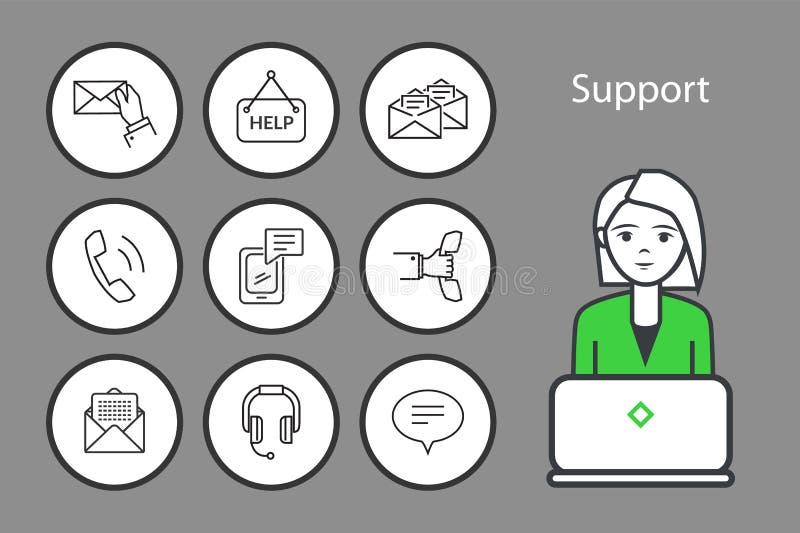 Vetor do grupo dos ícones dos envelopes do apoio e das mensagens ilustração stock