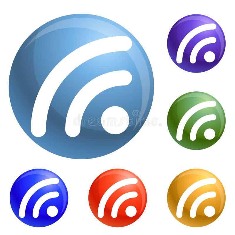 Vetor do grupo dos ícones do sinal de Wifi ilustração royalty free