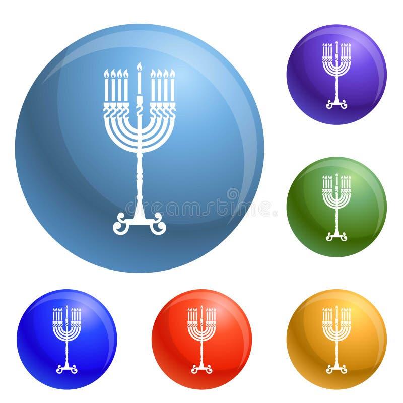 Vetor do grupo dos ícones do suporte da vela do Hanukkah ilustração do vetor
