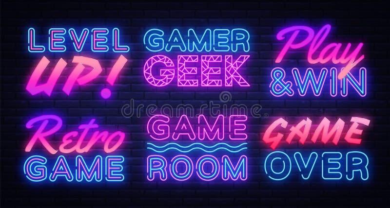 Vetor do grupo dos sinais de néon do jogo Sinal de néon do Gamer, molde do projeto, projeto moderno da tendência, quadro indicado ilustração royalty free