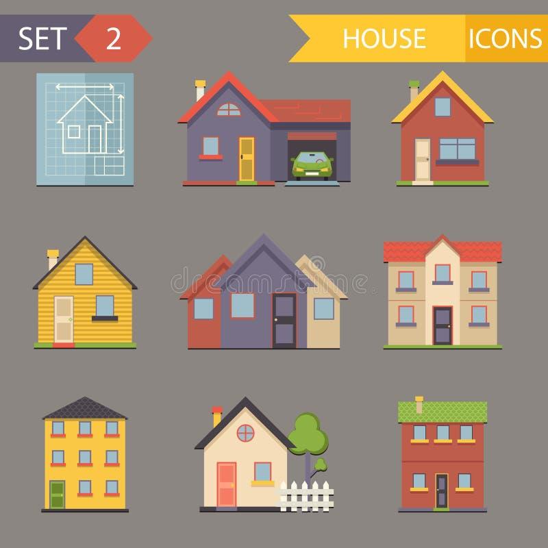 Vetor do grupo liso retro dos ícones e de símbolos da casa ilustração stock